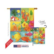 Breeze Decor Summer Tropical Collage 2-Sided Vertical House Flag - 28 x 40 in.