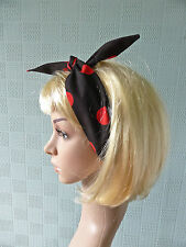 Black and red polka dot hair scarf headband 50's retro vintage rockabilly style