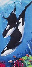 """Killer Whale Family Beach Towel - 30"""" x 60"""" - Velour - Made In Brazil"""