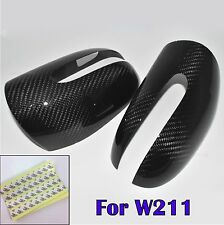 Dry Carbon Fiber Side Mirror Cover For 03-06 Benz W211 E320 E500 E55 AMG