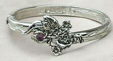 February Flower Hinged Bangle Bracelet Signed Lenox Purple Rhinestone Birthstone