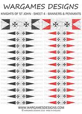 28 mm drapeaux-Chevaliers de St John-Feuille 4-lion rampant, brouillard, DBA, Ave César