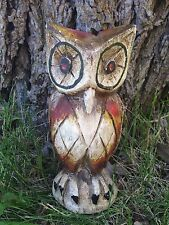 Hand Carved Light Wood Owl Statue Carving Red Yellow Brown Folk Art Primitive
