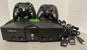 Microsoft Xbox Original Black Console Bundle W/ 2 Controllers, HDMI Cable Tested