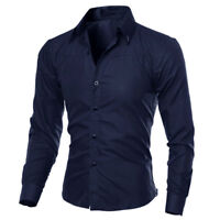 UK Men Long Sleeve Botton Down Trendy Shirts Wedding Business Slim Fit Tops ILC