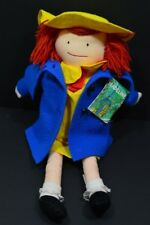Vintage Madeline Cloth Rag Doll Blue Coat Dress Stuffed Plush 1990 Eden Toys TAG