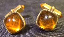 Pair of Vintage Swank Amber Cuff Links