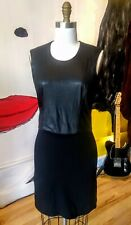Archival Black Helmut Lang Soft Leather and Spadex Sleeveless Body Con Dress USA