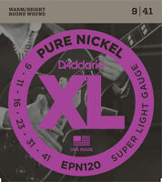 3 Sets D'Addario EPN120 Pure Nickel Super Light 9-41 Electric Guitar Strings