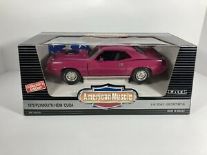 Ertl American Muscle 1970 Pink Plymouth Cuda 1:18 Scale Diecast Model Hemi Car