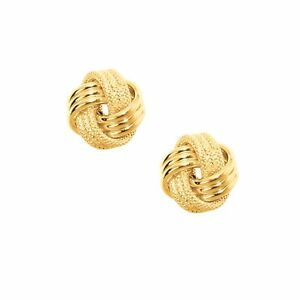 Italian Textured Triple Row Knot Rosetta Rose Stud Earrings Real 10K Yellow Gold