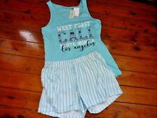 Ladies Pjs Summer Set Singlet Tank Top & Shorts Blue Size 8-10