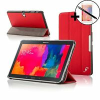 Leather Red Smart Case for Samsung Galaxy Tab PRO 10.1 + Screen Prot & Stylus
