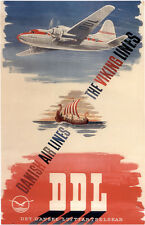 "Vintage Danish Airlines ""Viking"" Travel Poster 1950's"