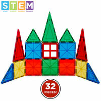 BCP 32-Piece Kids Magnetic Building Tiles Toy Set w/ Carrying Case