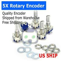 5X EC-11 Rotary Encoder Digital Potentiometer 20mm Knurled Shaft with Switch USA