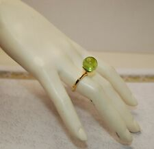 Gold Color Ring With Genuine Green Amber Impressive Adjustable Japanese Brass