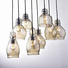 Industrial 8-Light Cognac Glass Cluster Pendant in Antique Black Finish Home