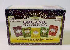 St. Dalfour Organic Tea Variety Pack Earl Grey Lemon Strawberry Green 25 Bags
