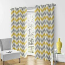 Ochre Eyelet Curtain Mustard Yellow Ready Made Ring Top Cotton Curtains Pairs