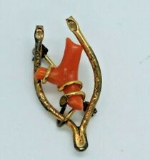 Gold Filled Wishbone (21E) Victorian Brooch Pin Jewelry Coral