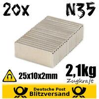 20x Magnet Quader 25x10x2mm 2kg - Geocaching starke Minimagnete Whiteboard