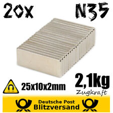 20x Magnet Quader 25x10x2mm N35 - Pinnwandmagnete Bastelmagnete Modellbau stark