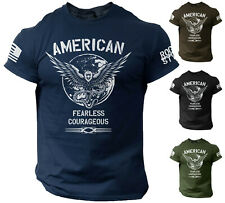 American Men's T Shirt Fearless Courageous USA Warrior Tee Rogue Style