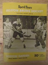 Boston 1968 BRUINS Program vs CHICAGO BLACK HAWKS Bobby Orr HULL Phil Esposito