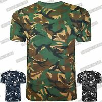MENS CAMOUFLAGE T-SHIRT ARMY COMBAT SHORT SLEEVE ROUND NECK MILITARY TOPS M-5XL