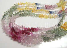 "7"" strand multi SAPPHIRE faceted teardrop briolette gem stone beads pink blue"
