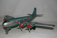 1950's American Airlines DC 7 Large Tin Friction Airplane, Nice Original