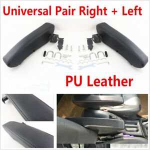 2 Pcs Comfortable Soft Adjustable PU Leather Car Truck Armrest Arm Rest Black