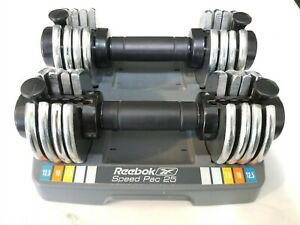 Reebok Speed Pac 25 SpeedPac Dumbbell Set Of Two Adjustable Weights 12.5lbs Each
