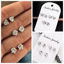 Gift New Square Party Cubic Zirconia Earrings Heart  Crystal Stud Jewelry