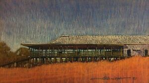 """Original Pastel Drawing by Clark Barrett """"Woolshed"""" Signed lower Right"""