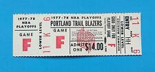 PORTLAND TRAILBLAZERS 1977-78 unused full original Playoff ticket Sharp F6