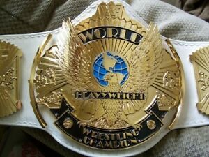 Winged Eagle Classic Gold 4mm Zinc Championship Belt Real Leather White