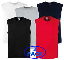 2X Fruit of the Loom Smart Fit Cotton Mens Gym Vests Tank Top S-2XL