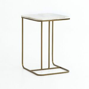 """23"""" Paola C Table Polished White Marble Side Iron Matte Brass Artisan Made"""