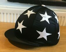 BRAND NEW * BLACK Riding HAT Helmet COVER with WHITE STARS and BUTTON *