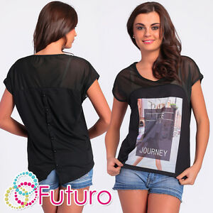 Party T-Shirt Life Print Short Sleeve Mesh Crew Neck Casual Top Sizes 8-12 FB114