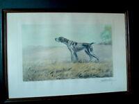 Gravure Lithographie Léon DANCHIN chien BRAQUE Chasse Vénerie signée