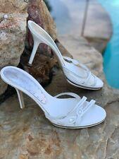 """BCBG Girls White Leather 4"""" Heel Mule Shoes size 9.5 euc"""