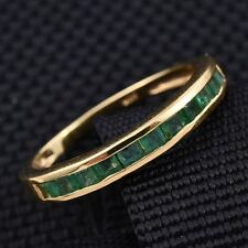 Vivid Zambian Emerald Half Eternity 14K Y Gold/925 Ring Size J