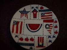 vintage red white and blue liberty ceramic plate apx. 7 inch good cond.