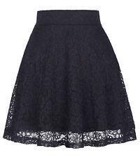 Women High Waist Lace Floral Skater Flared Ladies Short Mini Skirt A Line Dress