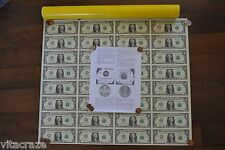 UNCUT MONEY SHEET 32 US $1 Dollar Notes Real Currency HIGH SERIAL NUMBER