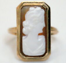 Antique 10K Yellow Gold Hand Crafted Cameo Ring Size 6.25