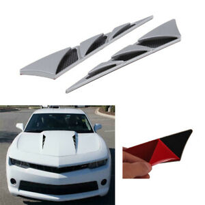 Silver Universal Car Auto SUV Air Flow Fender Side Mesh ABS Vent Decor Sticker